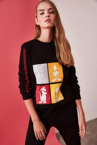 Trendyol Black Looney Tunes Licensed Basic Knitted Sweatshirt dámské XS