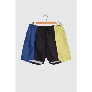 Trendyol Black Mens Color-Blocked Swim Shorts pánské S