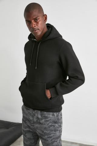 Trendyol Black Mens Hooded Regular Fit Sweatshirt pánské M