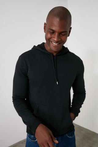 Trendyol Black Mens Hooded Regular Fit Sweatshirt pánské S