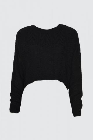 Trendyol Black Mesh Detailed Crop Knitwear Sweater dámské L