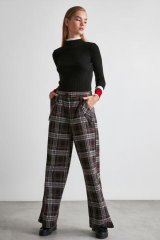 Trendyol Black Plaid Knitted Pants dámské S
