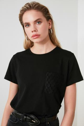 Trendyol Black Pocket Detailed Basic Knitted T-Shirt dámské L