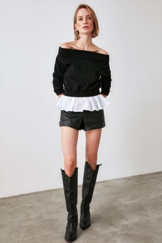 Trendyol Black Poplin Detailed Carmen Collar Basic Knitted Sweatshirt dámské XS