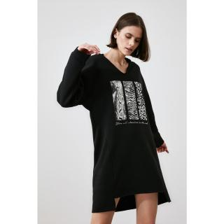 Trendyol Black Print knitted dress dámské M
