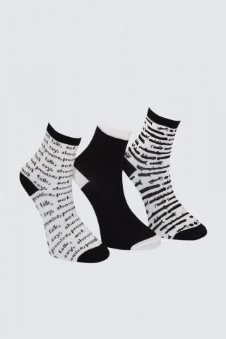 Trendyol Black Printed 3 Pack Knitted Socks dámské One size