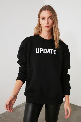 Trendyol Black Printed Basic Knitted Sweatshirt dámské S