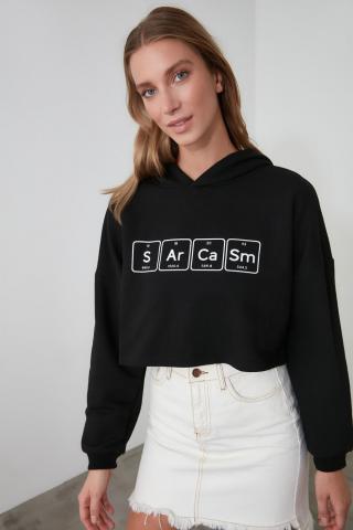Trendyol Black Printed Hooded Crop Knitted Sweatshirt dámské S