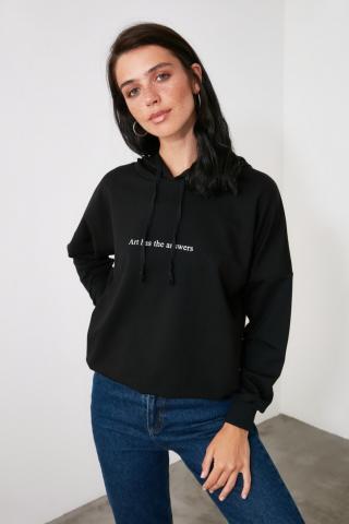 Trendyol Black Printed Knitted Sweatshirt dámské M