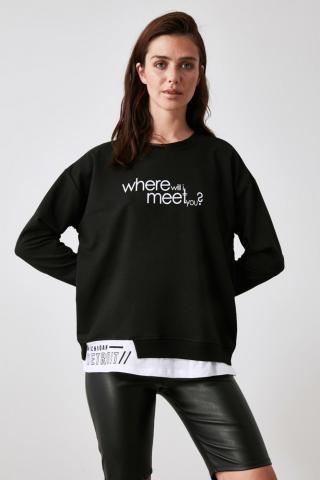 Trendyol Black Printed Knitted Sweatshirt dámské S