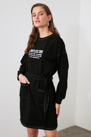Trendyol Black Printed Pocket Detailed Knitted Dress dámské S