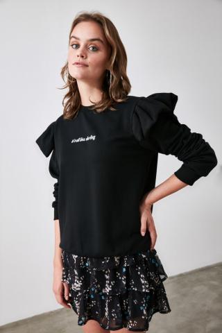 Trendyol Black Printed Sleeve Detailed Knitted Sweatshirt dámské S