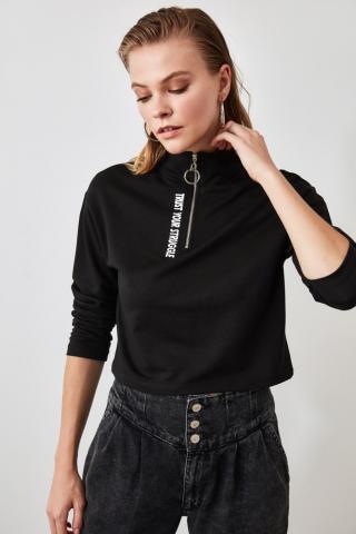 Trendyol Black Printed Zipper Crop Knitted Sweatshirt dámské S