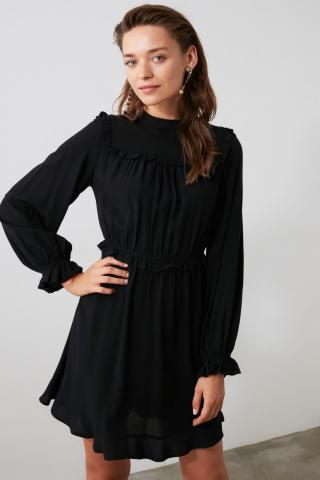Trendyol Black Ruffle Dress dámské 34