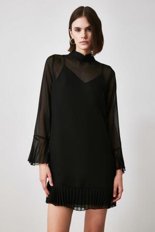 Trendyol Black Sheer Collar Pleat Detailed Dress dámské 34