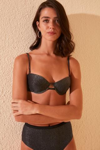 Trendyol Black Shiny Balen bikini top dámské 34