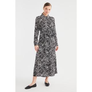 Trendyol Black Shirt Collar Patterned Viscose Dress dámské 36