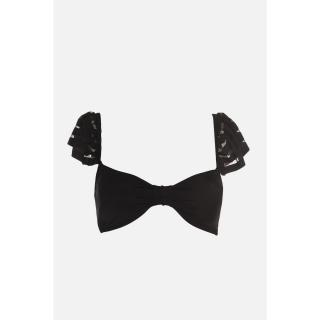 Trendyol Black Shoulder Detailed Bikini Top dámské 34