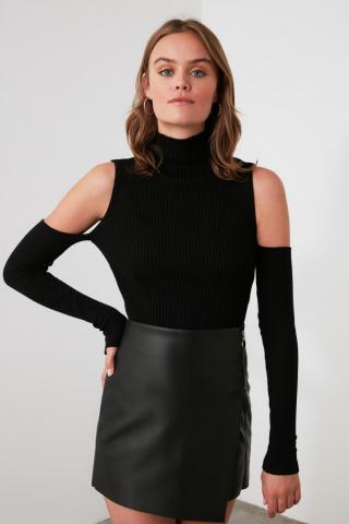 Trendyol Black Shoulder Detailing Knitwear Sweater dámské S