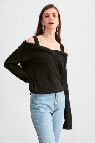 Trendyol Black Shoulder Open Strap Knitwear Sweater dámské S