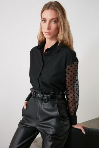 Trendyol Black Sleeve Tulle Shirt dámské 34