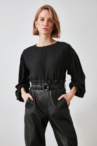 Trendyol Black Sleeves Smuz Blouse dámské 42