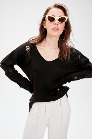 Trendyol Black Spill Knitwear Sweater dámské S