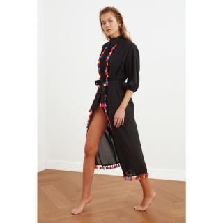 Trendyol Black Tassel Detailed Kimono & Kaftan dámské S