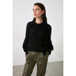 Trendyol Black Tassel Knitwear Sweater dámské L