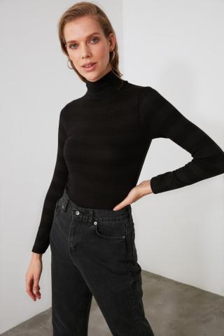 Trendyol Black Throat Knitted Blouse dámské S