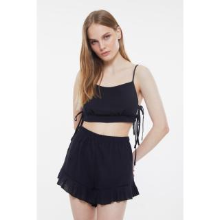 Trendyol Black Tied Woven Pajamas Set dámské 34