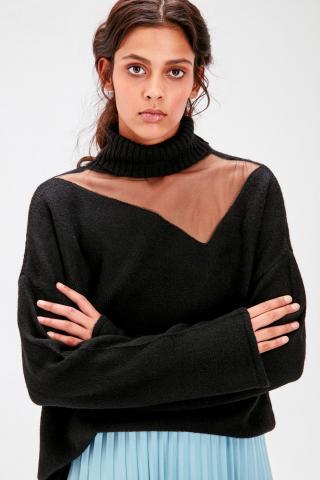 Trendyol Black Tulle Detailed Knitwear Sweater dámské S