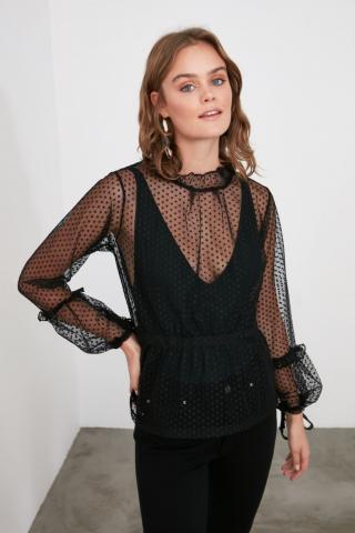 Trendyol Black Tulle Knitted Blouse dámské S