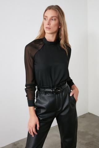 Trendyol Black Upright Collar Blouse dámské 34