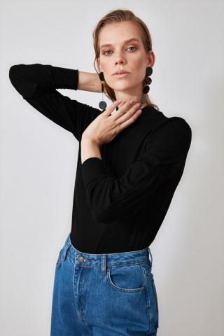 Trendyol Black Upright Collar Knitted Blouse dámské S
