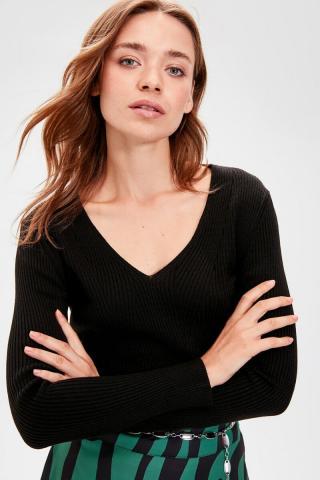 Trendyol Black V-Neck Basic Knitwear Sweater dámské S