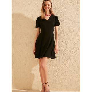 Trendyol Black V Neck Line Basic Dress dámské černá XL