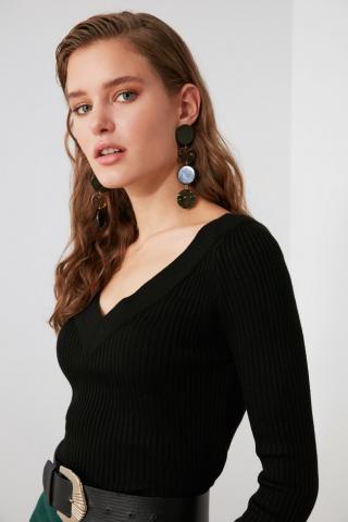 Trendyol Black V-Neck Suppository Knitwear Sweater dámské M