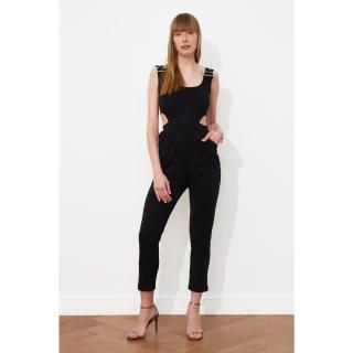 Trendyol Black Waist Detailed Knitted Jumpsuit dámské L