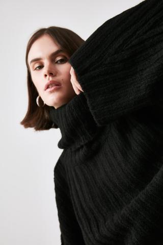 Trendyol Black Wick Turtleneck Knitwear Sweater dámské L