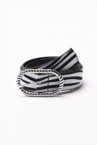 Trendyol Black Zebra Pattern Buckle Belt dámské S