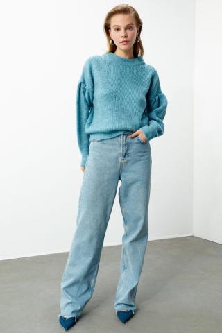 Trendyol Blue Balloon Coke Knit Sweater dámské Navy S
