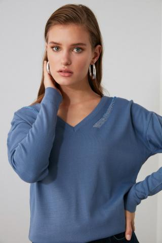 Trendyol Blue Collar Detailed Knitwear Sweater dámské Navy S