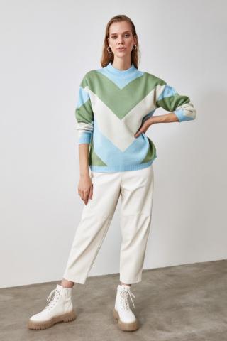 Trendyol Blue Color Block Knitwear Sweater dámské Navy S