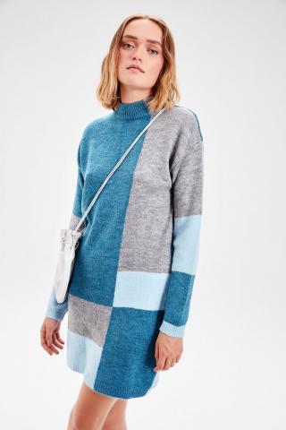 Trendyol Blue Colorblock Knitwear Sweater Dress dámské Navy S