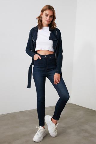 Trendyol Blue High Waist Skinny Jeans dámské Navy 34