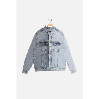Trendyol Blue Mens Regular Fit Dual Color Denim Jacket pánské Other S