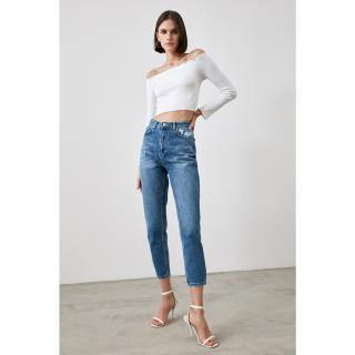 Trendyol Blue Ripped Detailed High Waist Mom Jeans dámské Navy 34