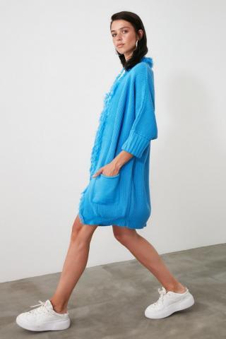 Trendyol Blue Tassel Detailed Knitwear Cardigan dámské Navy S