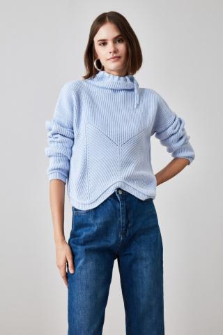 Trendyol Blue Upright Collar Knitwear Sweater dámské Navy S